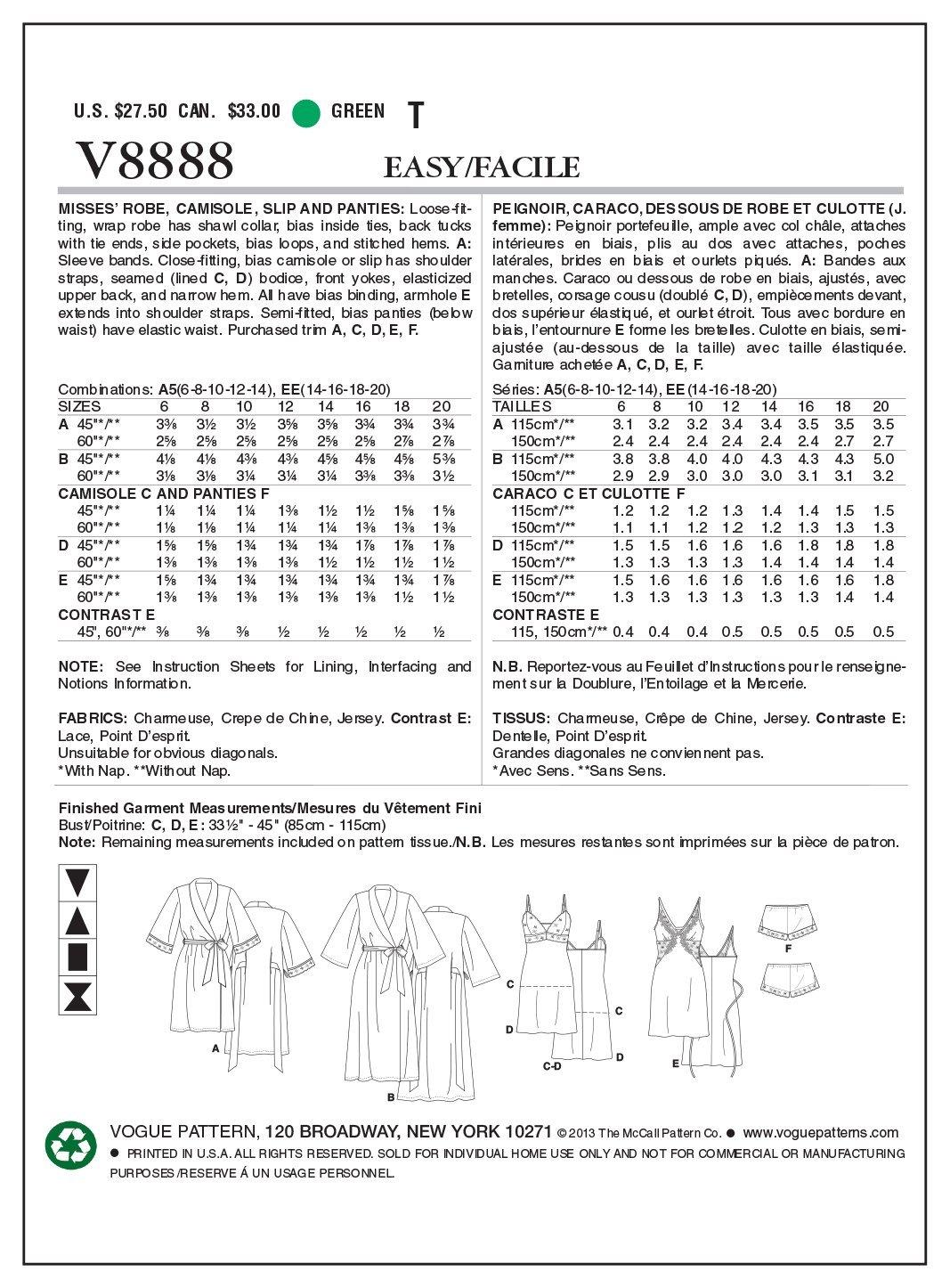 Vogue Patterns V8888 - Patrones de costura para batas, camisones y ...