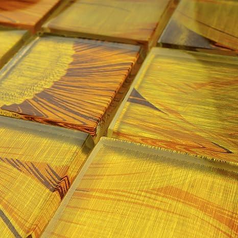 Amazon Com Tlg 05 Sun Flower Yellow Orange 2x2 Glass Mosaic Tile Backsplash For Kitchen And Bath Small Sample Swatch Home Kitchen