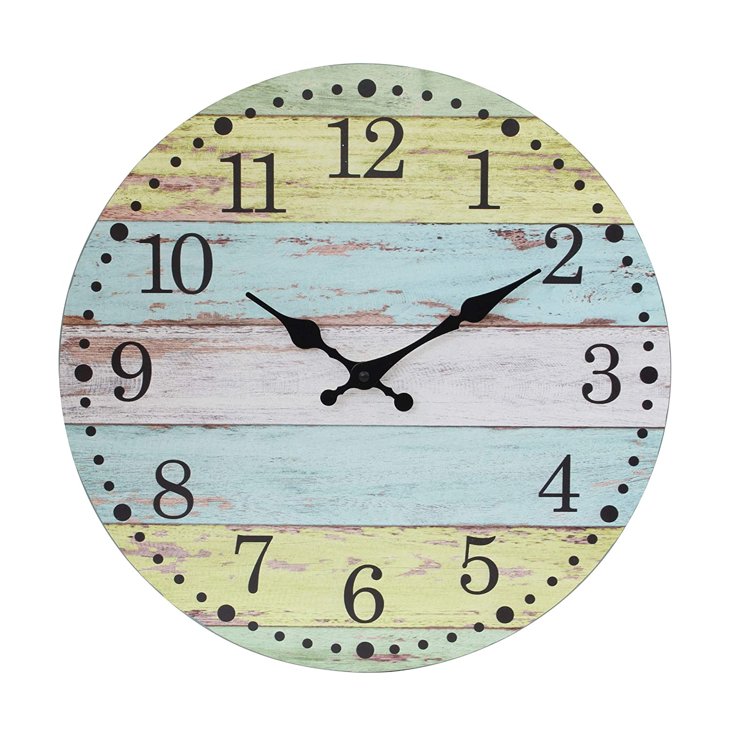 Stonebriar Vintage Farmhouse Worn 14 Inch Round Hanging Clock, Battery Operated, Rustic Wall Decor for The Living Room, Kitchen, Bedroom, and Patio, Light Blue/Yellow