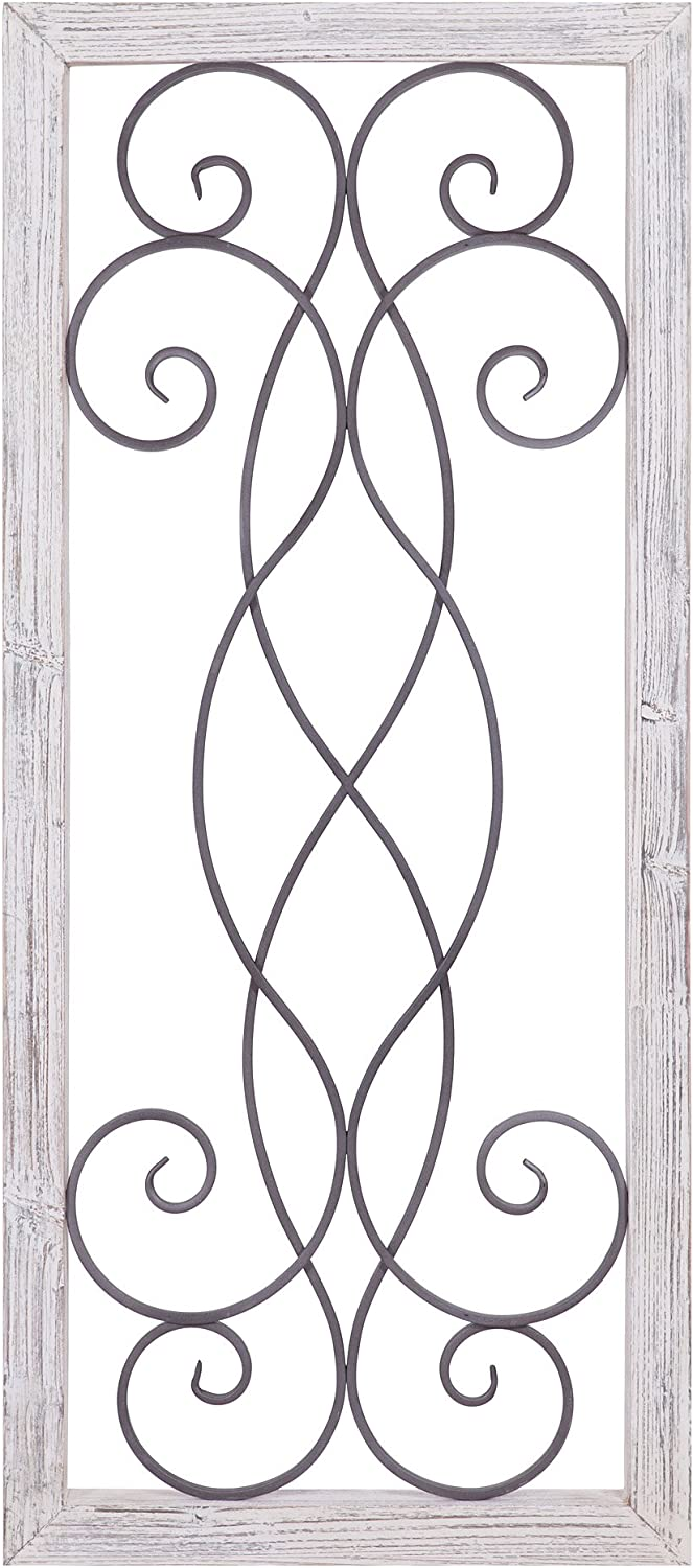 Patton Wall Decor Rustic White Washed Wood and Metal Decorative Scroll Wall Decor