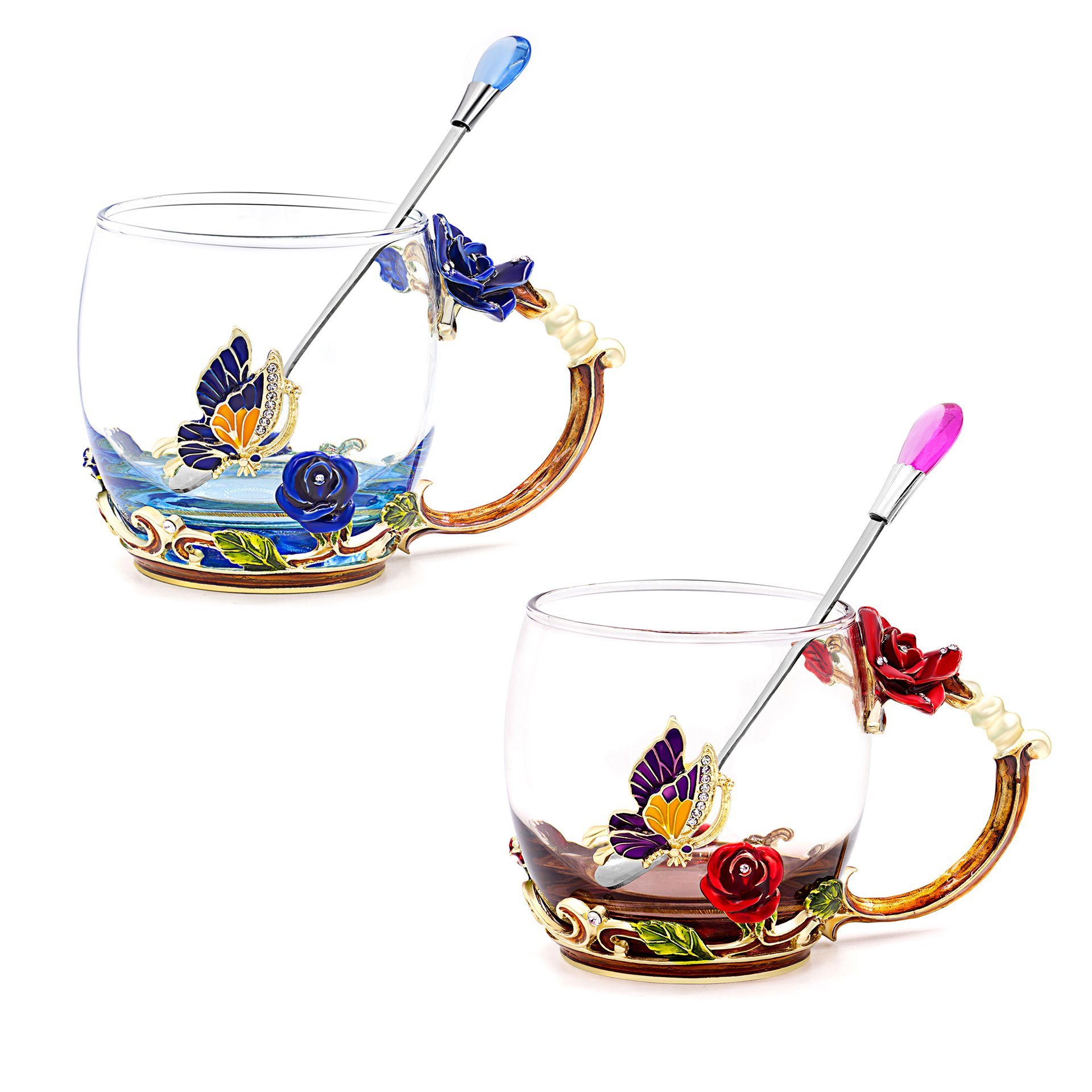 Daycindy Environmental Glass Cup Enamel Floral Tea Cups with Spoon Set (12oz, Rose Blue & Red)
