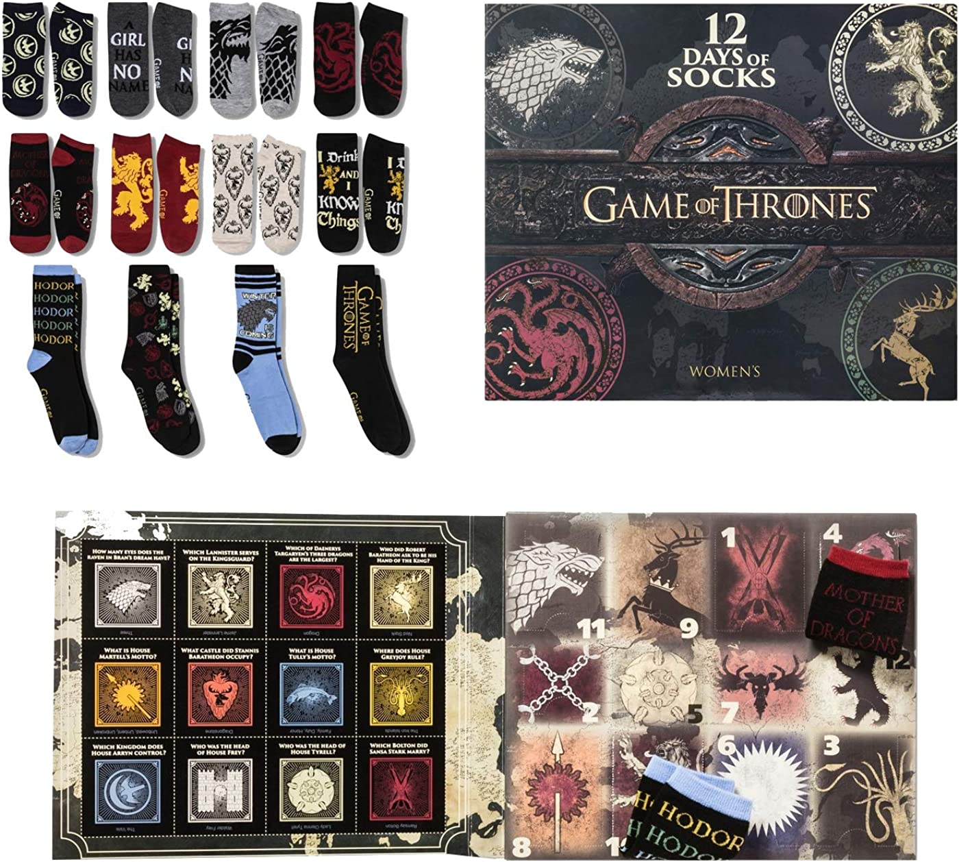 Women's Game of Thrones 12 Days of Socks Advent Calendar - Colors May Vary 4-10
