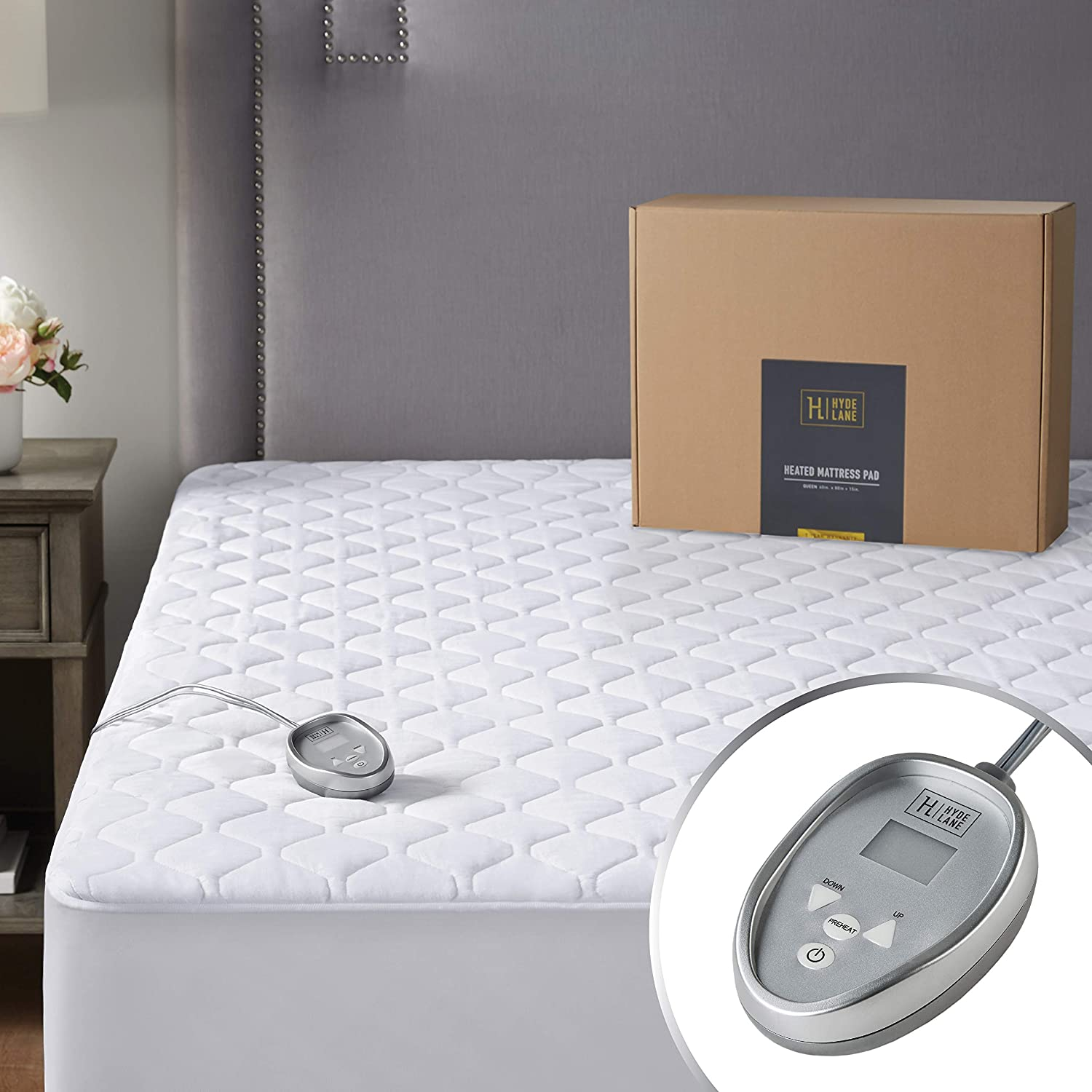 "Safe Electric Heated Mattress Pad Twin Size, 39x75"" – Quilted Cotton Bed Warmer with 20 Heat Setting Controller, Auto Shut Off & Preheat Functions 