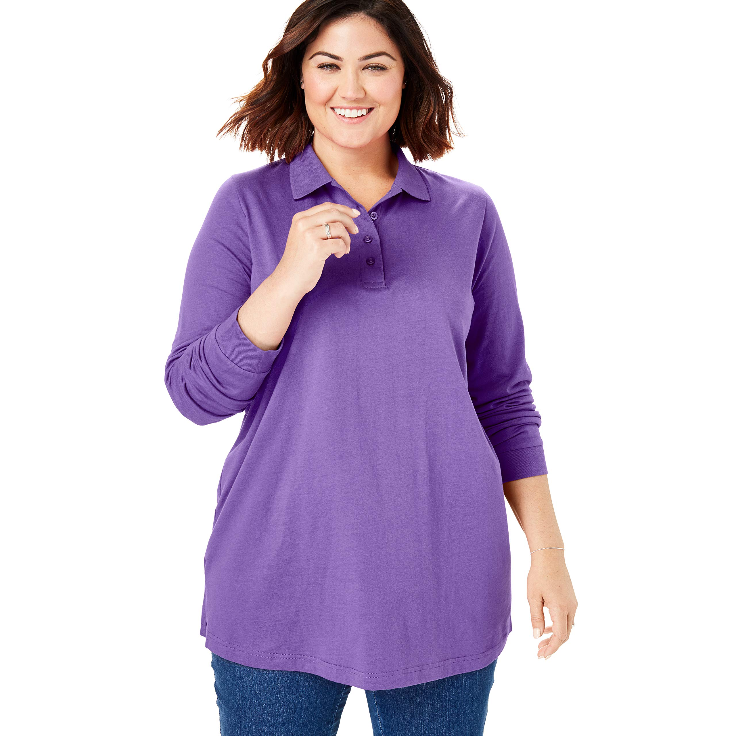 Woman Within Women's Plus Size Long-Sleeve Tunic Polo Shirt - Plum Burst, L by Woman Within