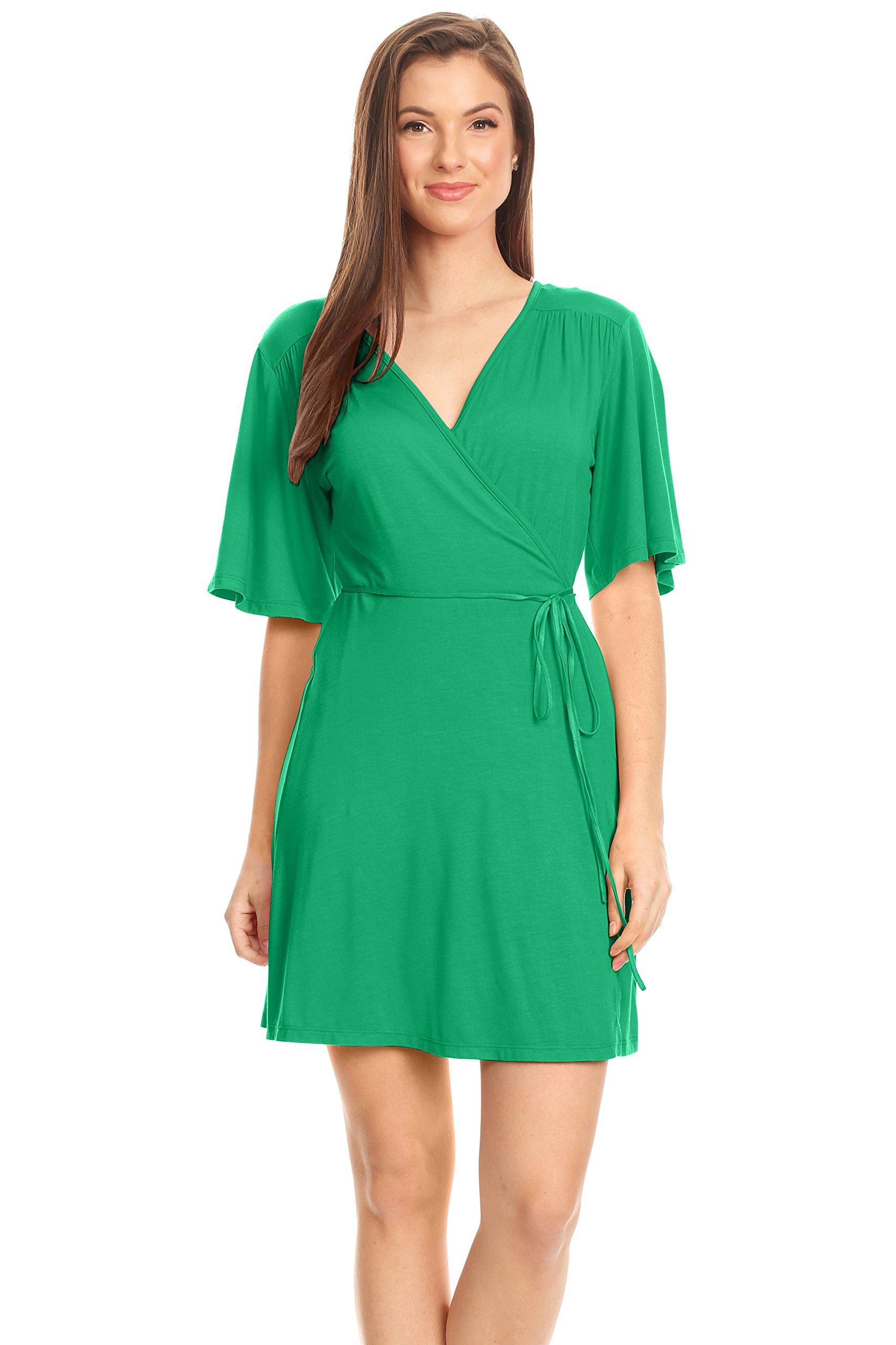 Kelly Green Dresses for Women Short Sleeve Wrap Dress for ...