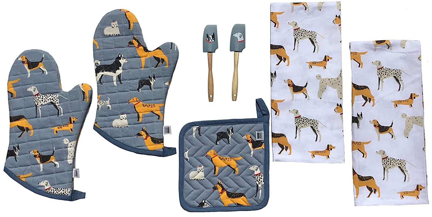 Dog Kitchen Set Dish Towels Oven Mitts Pot Holder Spatula 7 Piece Box Accessories