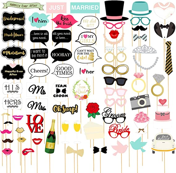 Frasi Belle One Piece.Amazon Com 72 Pack Wedding Photo Booth Props Funny Bridal