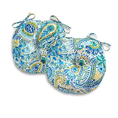 South Pine Porch AM5816S2-BALTIC Baltic Paisley 15-inch Round Outdoor Bistro Chair Cushion, Set of 2 : Garden & Outdoor