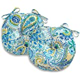 South Pine Porch AM5816S2-BALTIC Baltic Paisley 15-inch Round Outdoor Bistro Chair Cushion, Set of 2