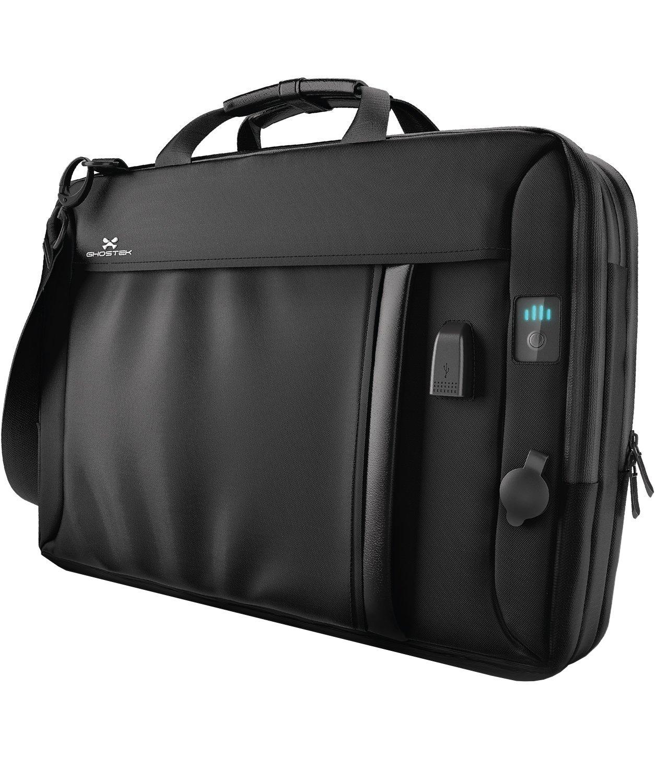 Ghostek NRGmessenger Series 8.5L Laptop Messenger Shoulder Bag + 16,000mAh Power Bank with 3 USB Ports | Water Resistant | Laptops Up To 15.3'' | Integrated LED Power Bar Indicator