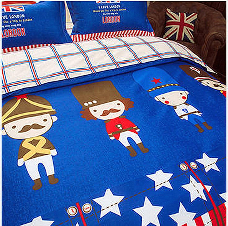 4pcs Kids Children Beddingset Duvet Cover Set Duvet Cover No Comforter Flat Sheet Pillowcases BLY Twin Full Queen Love Country Flag Star Design (Twin, Super Mario, Blue) Nova