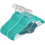 """Juvale 24 Pack Adult Clothes Velvet Hangers Clips Teal Ultra Thin No Slip 17.5"""" x 0.2"""" x 9.5"""""""