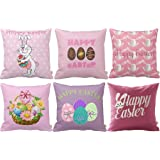 "HOSL FHJ04 Happy Easter Series Throw Pillow Case Decorative Cushion Cover Pillowcase Square 18"" - Set of 6"