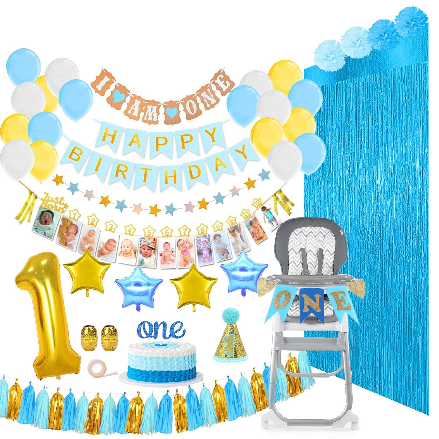 Baby Boy First Birthday Decorations & Party Supplies Mega Bundle [133 Pieces] | Includes Balloons, Banners, 12 Months Milestones, Garlands, Cake Topper, Pom Poms, Party Hat, Foil Fringe Backdrops, Gold Ribbons & Glue Dots & More | Blue, White, Gold | Boys