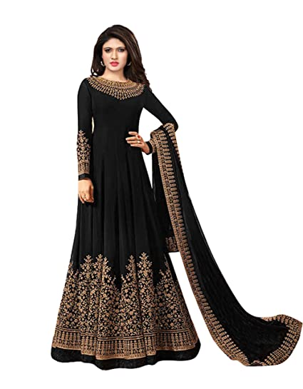 2ea5493685a9 Royal Export Women s Georgette Long Gown Dress Material  Amazon.in  Clothing    Accessories