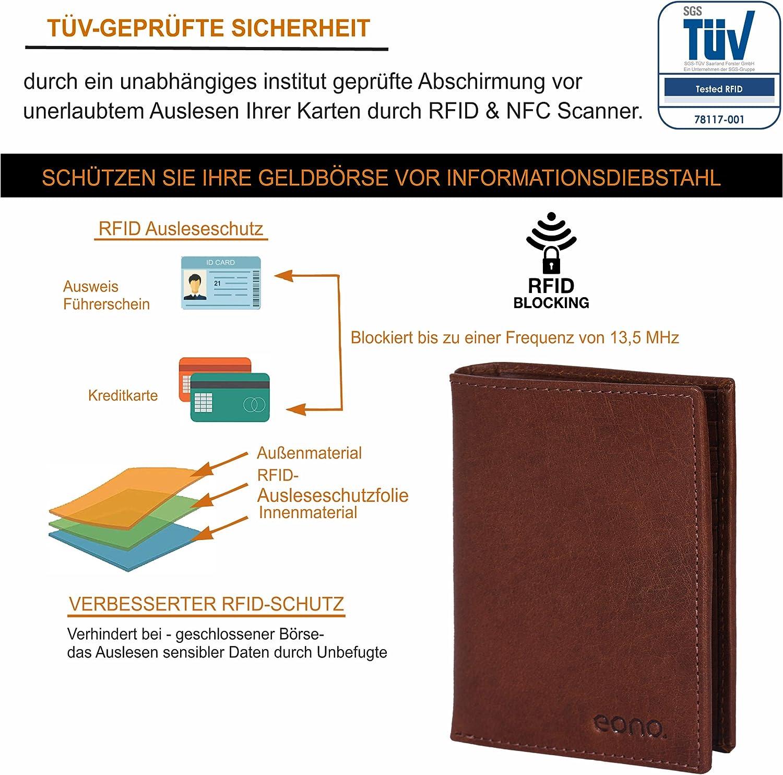 Design Plat avec Fonction de Protection Contre la Lecture RFID Eono par  Portefeuille en Cuir pour Hommes et Femmes Bronzer VT