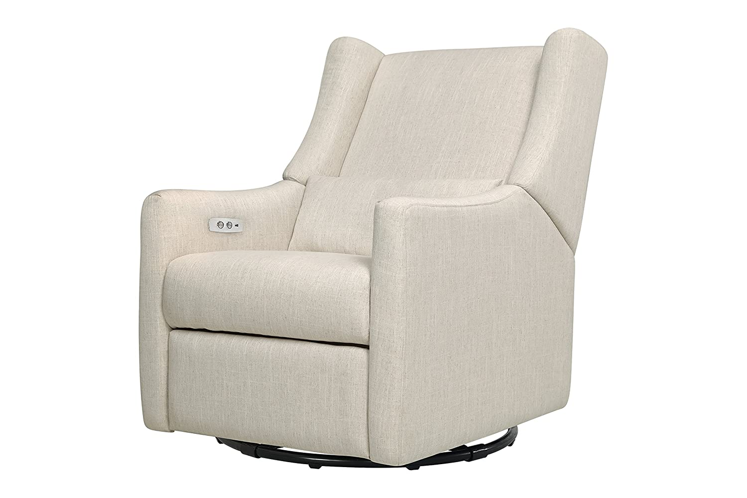 Babyletto Kiwi Electronic Recliner and Swivel Glider with USB Port, White Linen The MDB Family M11288LNWHT