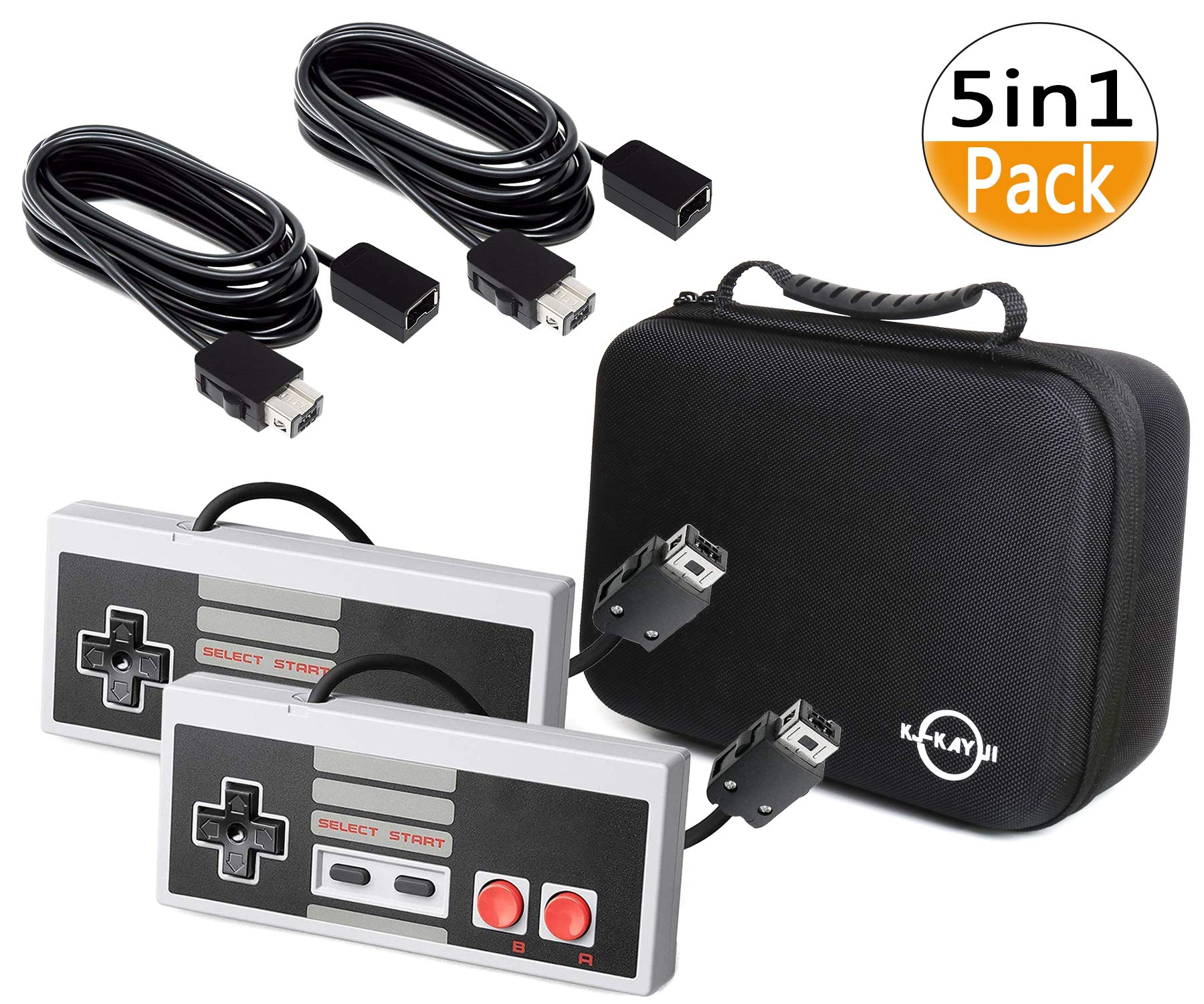 NES Classic Controller-5-in-1 Set for Nintendo Classic Mini Edition,2 Classic NES Mini Controller and 2 10Ft Extension Cable and a Travel Handbag,Applicable NES Classic Edition and Nes Classic Mini