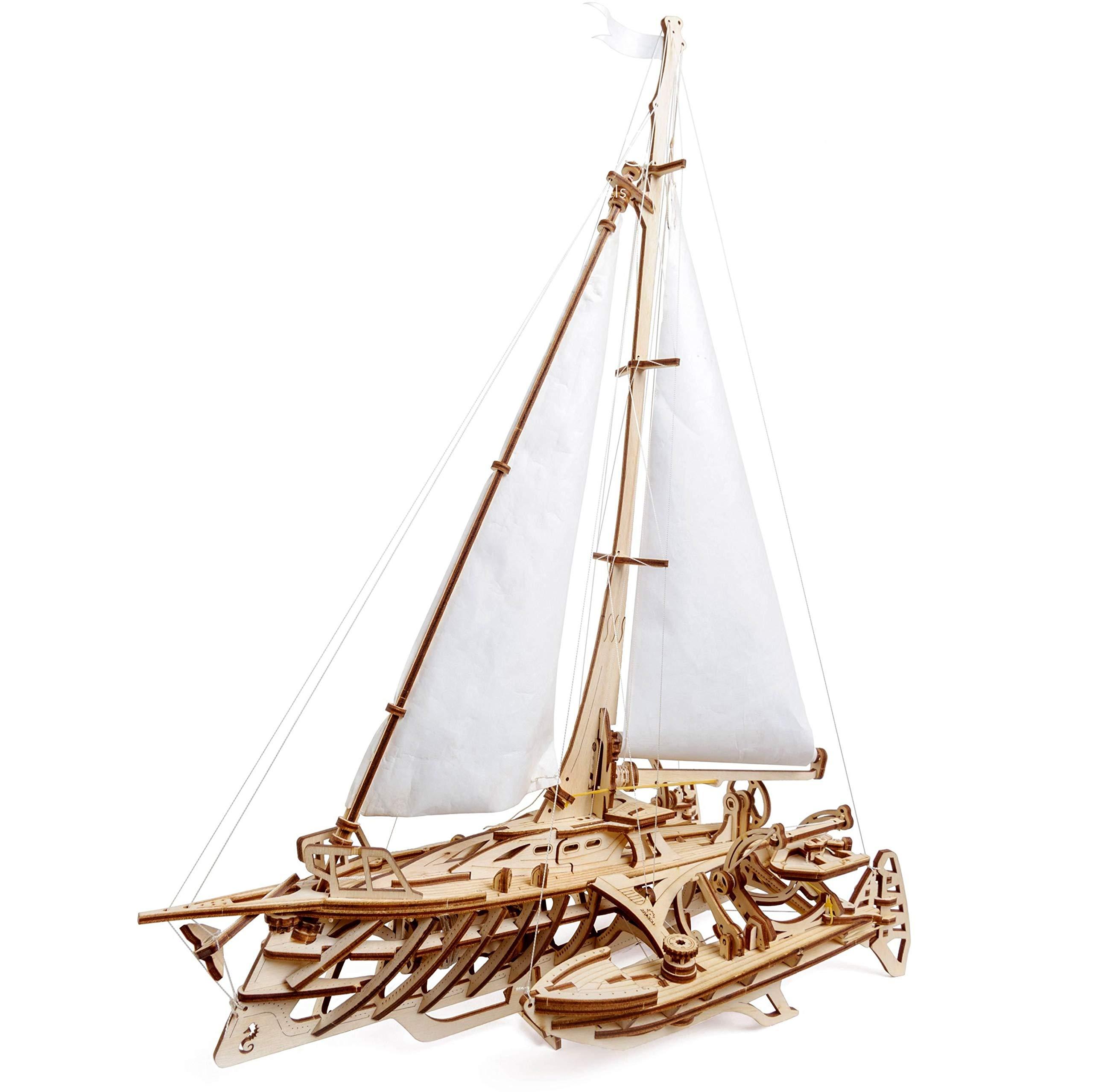 UGears Models 3-D Wooden Puzzle - Mechanical Trimaran Merihobus Sailboat by UGEARS