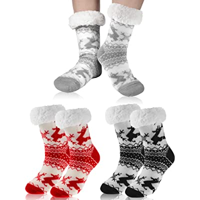3 Pairs Women Winter Fleece Lined Sock Warm Cozy Fuzzy Sock Winter Home Soft Thick Slipper Sock Christmas Gift (color A) at Women's Clothing store