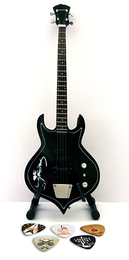 Kiss Gene Simmons Black Bass miniatura Replica Guitar & Plectro
