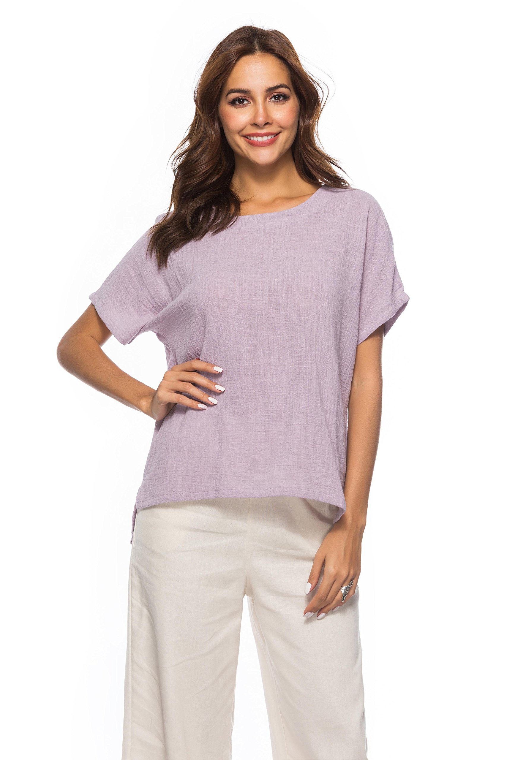 Prior Jms Women's Linen T-Shirt Blouse Casual Loose Short Sleeve Tops Cotton Linen Round Collar Shirs Tunic