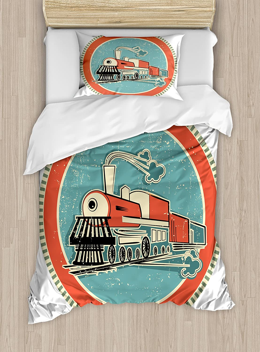 Ambesonne Steam Engine Duvet Cover Set, Vintage Style Orange and Blue Banner Train Transportation Retro, Decorative 2 Piece Bedding Set with 1 Pillow Sham, Twin Size, Turquoise Salmon