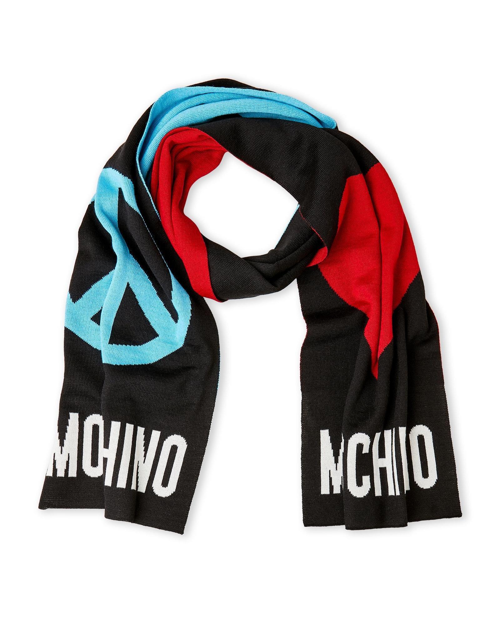 Moschino Women's Love & Peace Knit Scarf, Black Multi