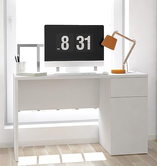 Abitti Mesa Escritorio Blanco con 1 Puerta y 1 cajón. 120cm ...