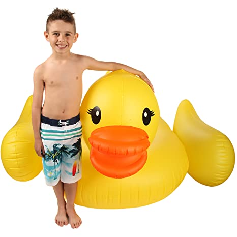 Inflatable Duck Float U0026 Pool Raft   HUGE 80u0026quot; Rubber Duck Pool Float  Inflatables For