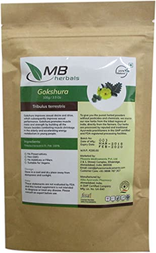 MB Herbals Gokshura Powder 100g 3.5 oz Tribulus terrestris Small Caltrops Sourced from the wild Promotes Easy Urination Normal Kidney Bladder Functions Helps to Build Strengthen Muscles