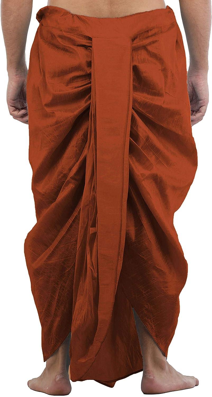 Maenner-Dhoti-Dupion-Silk-Plain-handgefertigt-fuer-Pooja-Casual-Hochzeit-Wear Indexbild 21