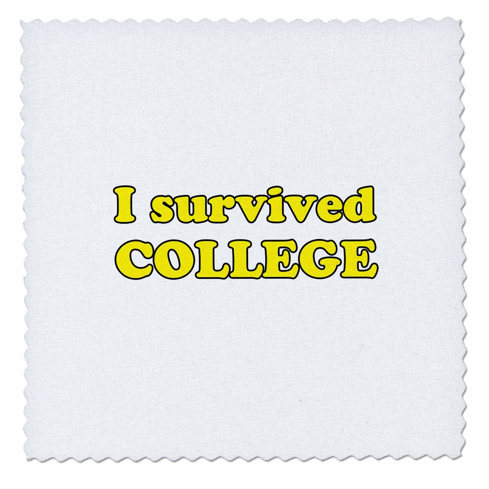 3dRose Student Humor - I Survived College Yellow - 22x22 inch quilt square (qs_274510_9)