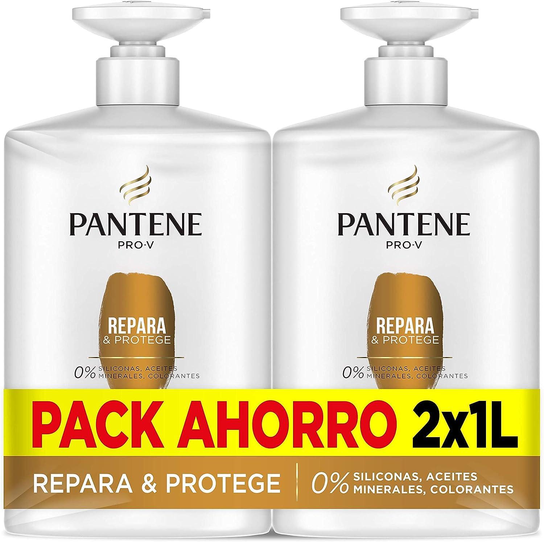 Pantene Champu, Repara Y Protege, 2 x 1 litro, Como Vitaminas Para El Cabello, Sin Siliconas