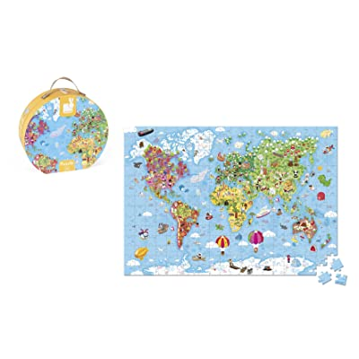 Janod 300 Piece Giant World Map Floor Puzzle Toy – Mini Suitcase Styled Hat Box for Organized Storage – Store Everything Inside & Transport Wherever You Go – Cognitive Development – Ages 5 Years +: Toys & Games