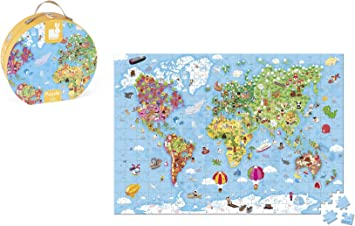 Janod-08502775 Maleta Puzzle Gigante Mapa del Mundo, 300 Piezas, Multicolor (Juratoys J02775): Amazon.es: Juguetes y juegos
