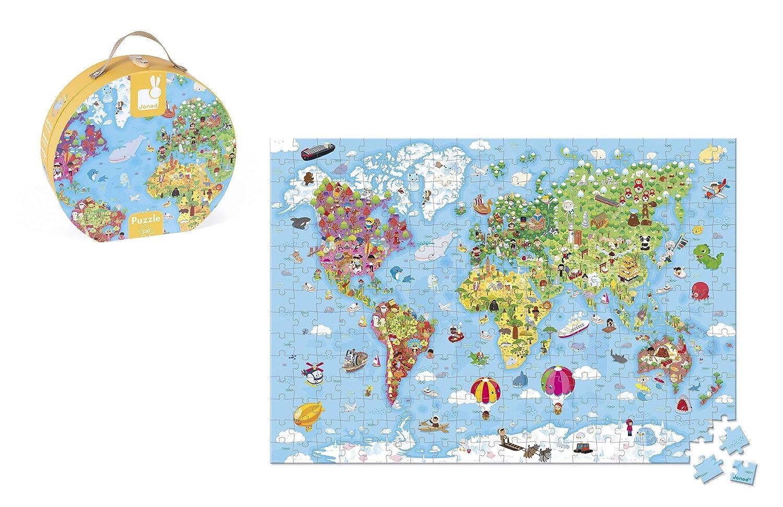 Janod World Map.Amazon Com Janod Hat Box Puzzle Giant World Map Puzzle Toys Games