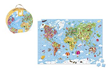 Janod Hat Box Puzzle - Giant World Map Puzzle