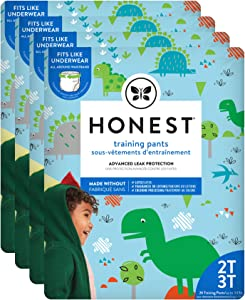 The Honest Company Toddler Training Pants, Dinosaurs, 2T/3T, 104 Count (Packaging May Vary)