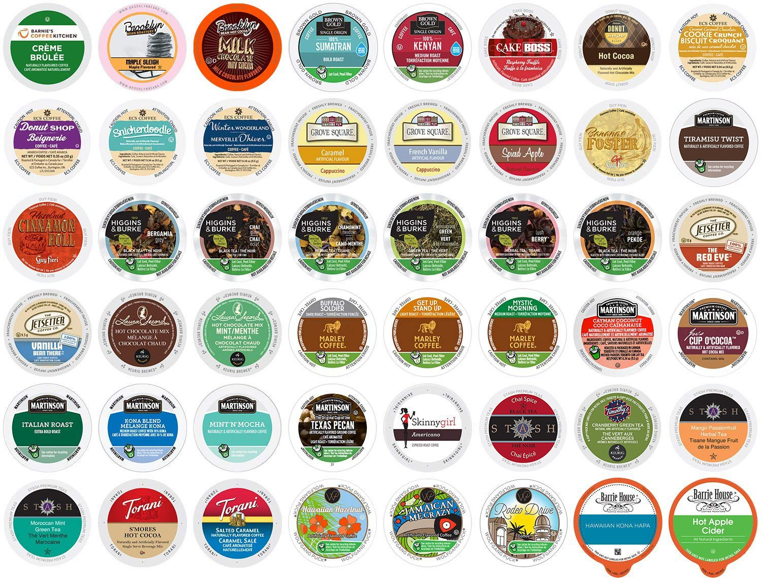 Keurig Coffee, Cider, Cocoa, Tea, and Cappuccino Variety Pack 48 K-Cups ECS Coffee