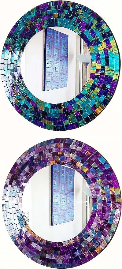 Rond Bleu /& Violet Mosaïque Miroir mural 40 cm-fait à la main à Bali-Neuf