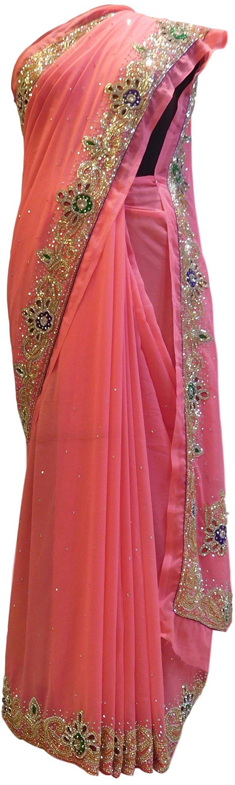 SMSAREE Pink Designer Wedding Partywear Georgette Cutdana Thread Stone Hand Embroidery Work Bridal Saree Sari C802 by SMSAREE