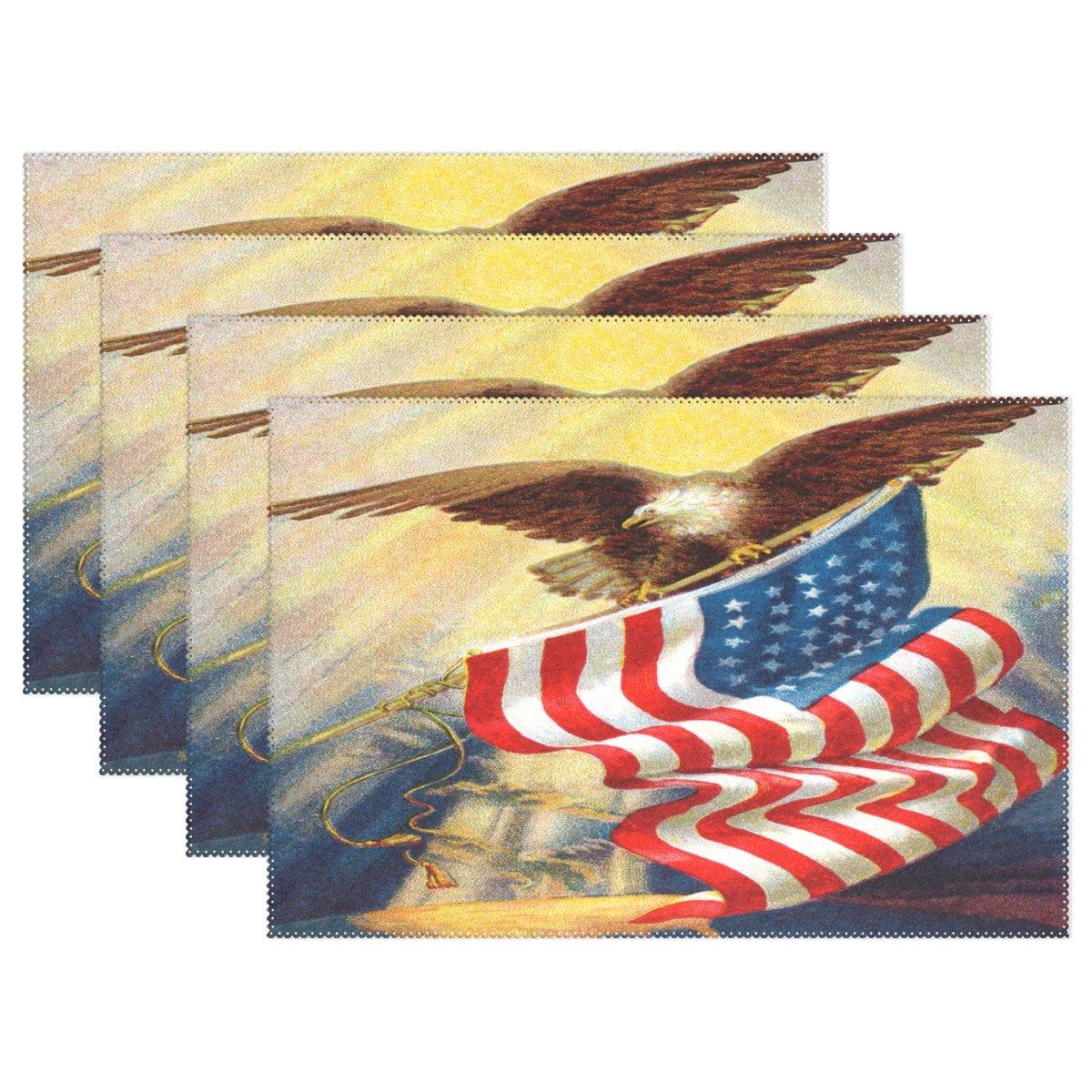 WozoヴィンテージAmerican Flag Eagleプレースマットテーブルマット12