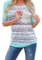 Chellysun Women's Spring Casual Print Long Sleeve T-shirt Top Blouse