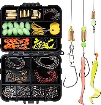 Details about  /Multifunctional Fishing Tackle Kit Hooks Spoon Sinker Accessories Box Tools Set