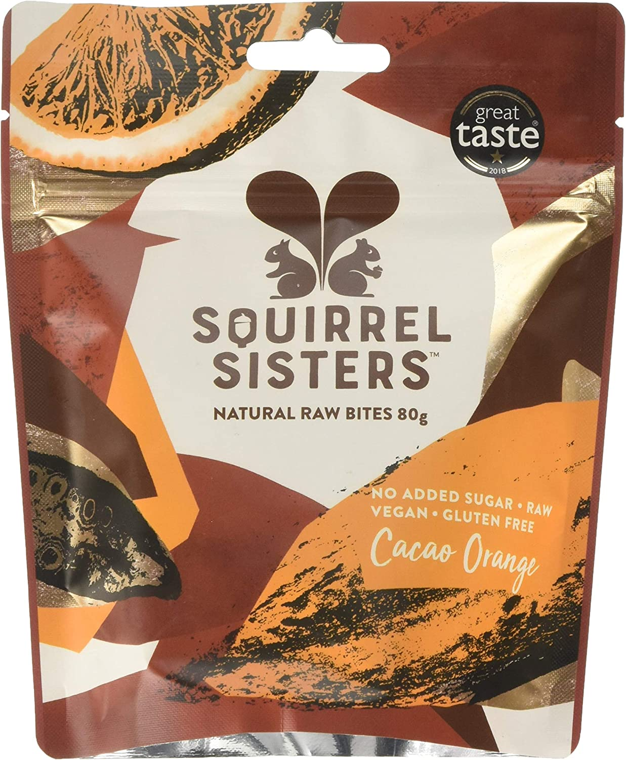 Squirrel Sisters Cacao Orange Natural Raw Bites Share Bag 80g (Pack of 10)