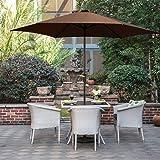 Grand Patio 3m Ombrello patio / giardino, parasole con protezione UV, pulsante di inclinazione e manovella ventilazione, Marrone