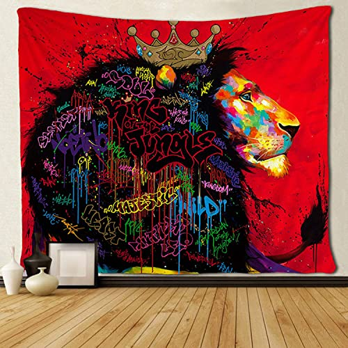 SARA NELL Reggae Rasta Cool Lion Graffiti Hair Colorful Art Tapestry Wall Hanging Psychedelic Wall Tapestry 60X90 Inches Bohemian Mandala Hippie Tapestry Bedroom Living Room Dorm