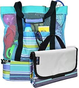 Beach Bag with Lightweight Fold Up 5'x6'Beach Mat & built-in cooler (Turquoise)