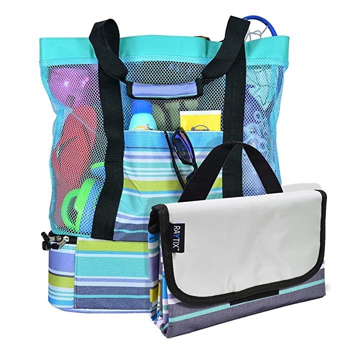 Breezy Convenient Mesh Beach Tote Bag with Lightweight Fold-Up 5'x6' Beach Blanket Mat, Solid Zipper Pocket, Zip Top Closure, Comfort Grip Carry Straps and Built-In Picnic Cooler Bottom (Turquoise) best beach bag